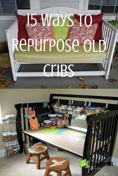 There are some really cute crib upcycling ideas in here. I don't have an extra crib at the moment but perhaps if I spot one at a garage sale I'll pick it up. I really like the kids craft station idea and the cozy lounge. - June 29 2019 at Old Baby Cribs, Baby Crib Diy, Old Cribs, Furniture Projects, Furniture Makeover, Home Furniture, Crib Makeover, Furniture Making, Garage Furniture