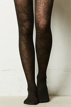 Sheer Floral Tights #anthropologie