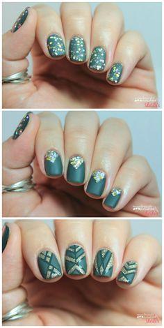Manicure Monday: Glitter & Matte Finish Nail Tutorial via lulus.com