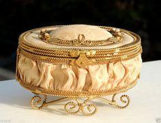 Rare Vintage French Art Deco Antique Silk & Bronze Jewelry Trinket Box Handmade