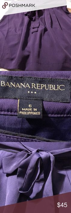 Banana Republic Purple Skirt size 6 EUC NWOT Banana republic lined skirt that ties in front. Panama purple size 6  it is 18 Inches long 100% polyester 🐣  🌸 Banana Republic Skirts Midi