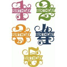 Silhouette Design Store - View Design #66658: split flourish birthday numbers 1-5
