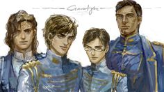"""This looks like a family picture in which Kaladin was around being a body guard during the whole thing, and Dalinar was like """"Stormblessed, get over here."""" And they made him come in for the picture. And he only half smiled because Dalinar gave him a look. Because Dalinar is low-key trying to take Kaladin under his wing and Kaladin is being the moody teenager like """"you aren't my real dad!"""" I don't know sometimes I see it this way."""