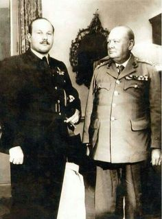 King Farouk .. king of Egypt and Sudan with Churchill