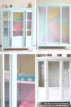 Amazing and subtle design on the chix wire doors. So clever! Pastel Armoire Makeover