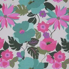 Pink/Green Floral Stretch Cotton Twill Fabric by the Yard | Mood Fabrics