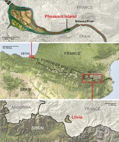 La Isla de los Faisanes es gobernada 6 meses al año por Francia y los otros 6 por España.