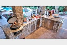 Basic Kitchen Area Concepts For Inside or Outside Kitchen areas – Outdoor Kitchen Designs Backyard Kitchen, Summer Kitchen, Outdoor Kitchen Design, Big Green Egg Outdoor Kitchen, Kitchen On A Budget, Diy Kitchen, Kitchen Ideas, Kitchen Layout, Kitchen Grill