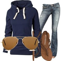 Hoodie & Jeans. I would wear this every day but tennis shoes or boots instead of Flipflops