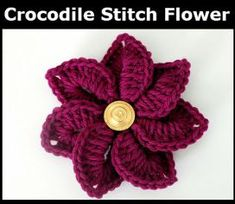 Free Crocodile Stitch Rollup Flower Pattern |