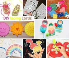 DIY lacing cards Motor Activities, Activities For Kids, Crafts For Kids, Yarn Projects, Sewing Projects For Beginners, Diy Lacing Cards, Literacy And Numeracy, Free Shapes, Sewing Cards
