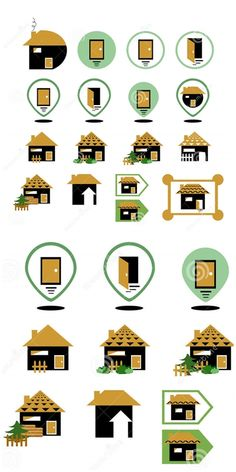 Illustration about Set of different home icons. Illustration of corner, direction, color - 67871769 Home Icon, Icon Set, Countryside, Holiday Decor, Illustration, Symbols, Logo, Logos, Illustrations
