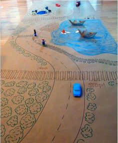 Cardboard car tracks