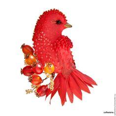 """Броши ручной работы. Ярмарка Мастеров - ручная работа. Купить Брошь-птица """"Аврора"""".Текстильная вышитая бисером брошь.. Handmade."""
