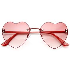 Super cute colorful heart shaped that sunglasses that feature a rimless frame. Stay fun and flirty all season long in these adorable heart sunnies. Made with an acetate based frame, metal hinges, and