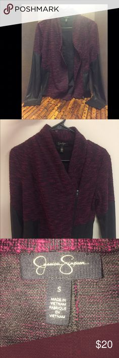 Jessica Simpson Zip Up Cardigan Adorable asymmetrical jacket with sleeves half leather. NWOT Jessica Simpson Tops