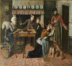 Henri Charles Desire Bossuwe Antwerp Belgium, 1887  A Homecoming
