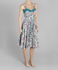 Look at this Blue Floral Fit & Flair Dress on #zulily today!