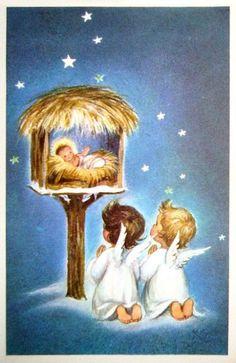 Risultato immagine per Vintage Christmas Angels Vintage Christmas Images, Old Fashioned Christmas, Christmas Scenes, Christmas Past, Christmas Nativity, Retro Christmas, Vintage Holiday, Christmas Pictures, Christmas Angels