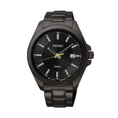 Seiko Men's Black Ion-Plated Stainless Steel Watch - SUR073