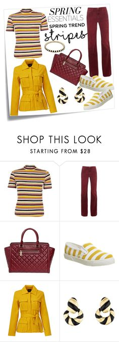 """""""Striped Shirt"""" by hastypudding ❤ liked on Polyvore featuring Post-It, River Island, Current/Elliott, Michael Kors, Office, TY-LR, David Webb, Lauren G Adams, stripes and fashionset"""
