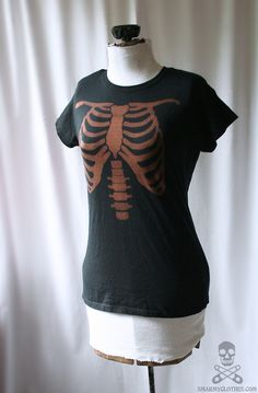 bleached ribcage skeleton tee shirt top - smarmyclothes - diy Halloween costume