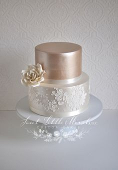 Simple Two Tone Champagne Wedding Cake Simple wedding cake.Sweet and simple two toned luster wedding cake with lace applique on the bottom tier. Accented with a sugar rose.Wedding cakes can go from the simplest to the most intricate designs; 8 Tier Wedding Cakes, Champagne Wedding Cakes, Small Wedding Cakes, Beautiful Wedding Cakes, Wedding Cake Designs, Wedding Cupcakes, Elegant Wedding, Fall Wedding, Rustic Wedding