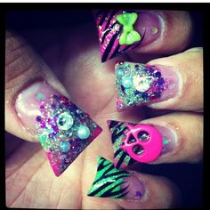 Punk nails(don't like duck feet nails but these are kinda cute) way better if they were not so darn flared.