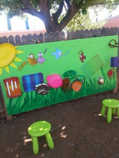music wall done. I am sure will add more later Preschool Music, Preschool Ideas, Music Corner, Music Station, Playground Ideas, Outdoor Classroom, Play Spaces, Music Wall, Wall Ideas