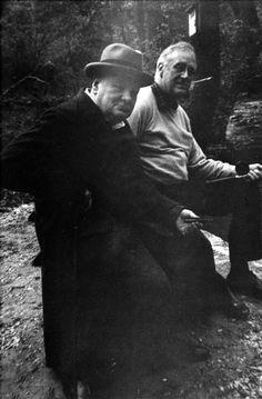 FDR and Winston Churchill, fishing at Shangri-La, May 1943.
