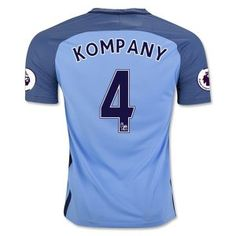 Manchester City Home 16-17 Cheap #4 KOMPANY Soccer Jersey [G111]