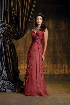 2012 Collection Red  Empire Waist Sweetheart Chiffon