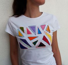 """kid"""" hand painted and hand embroidered cotton t-shirt. Kids Hands, 90s Kids, Sewing Clothes, Hand Painted, Cotton, Mens Tops, T Shirt, Diy, Shopping"""
