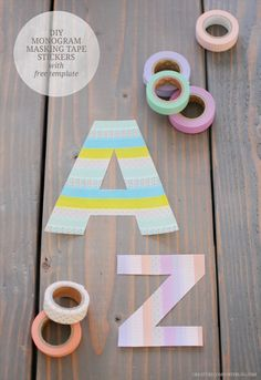 DIY Monogram Masking Tape Stickers with free templates over on Creature Comforts #creaturecomfortsblog