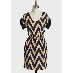 Far Away Chevron Dress In Navy ($37) ❤ liked on Polyvore