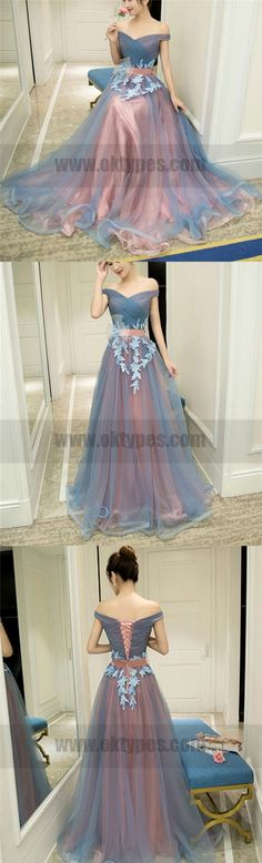 Newest Floor-length Two Piece Lace Appliques Printed Round Neck Long Prom Dresses, TYP0748 #promdresses #promdress #longpromdresses #tulleballoons
