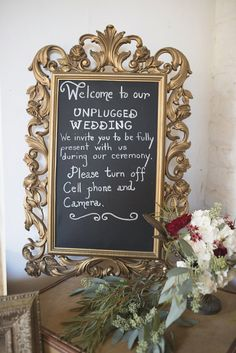 Gold and chalkboard unplugged wedding ceremony sign