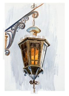 Lantern painting watercolor art print Lamp lighting fixtures Urban artwork still life painting poster wall art decor Urban sketch- Wall Decor Lights, Wall Art Decor, Lantern Drawing, Watercolor Paintings, Original Paintings, Watercolour, Frida Art, Vintage Lanterns, Arte Obscura