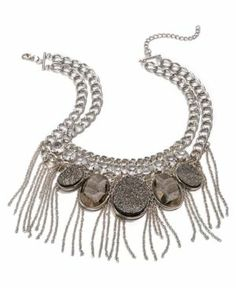 { Silver-Tone Clear Crystal Drusy Fringe Statement Necklace }