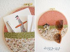 Embroidery hoop and fabric wall pocket DIY - Bolso de parede usando bastidor e tecido - DIY Coletivo: decor de armarinho