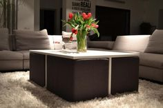 Furniture, Appealing Coffee Table Space Saving Decor Along With Fur Rug As Well As Flower And Sofa: How To Make A Coffee Table That Looks Wo...