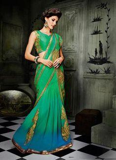 Emerald & Aqua Blue Color Lehenga Choli Online ,Indian Dresses - 1