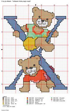 Playful Bears Alphabet Full Sized Sampler Cross Stitch Pattern Alfabeto Hobby degli orsetti: X Cute Alphabet, Alphabet Design, Alphabet And Numbers, Cross Stitch Letters, Cross Stitch Flowers, C2c Crochet, Counted Cross Stitch Patterns, Needlework, Embroidery