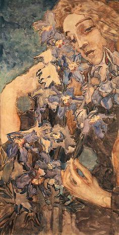Mikhail Vrubel - Primavera - Paper, watercolors, 1897.
