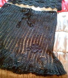 Falda marron hilo algodon talla 44/46 aprox