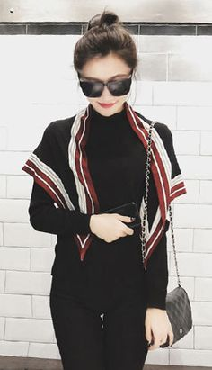 Fashiontroy Street style long sleeves gray black basic sweater + color-block scarf