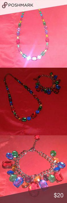 """Macy's Necklace & Bracelet Set Multi-colored Gemstone Necklace & Bracelet w/hematite setting. Stones are square, circle, and oval shaped. 16"""" necklace, a 3"""" chain, and a lobster claw clasp. Macy's Jewelry Necklaces"""