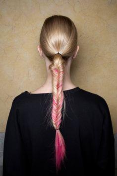 fishtail braid + pink hair