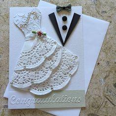 Handgemachte Hochzeit Karte. Leere einfügen Weißen Umschlag enthalten