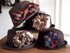 ネクタイリメイクのお帽子アクセサリーを開発しています★